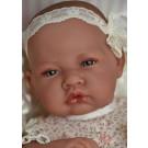Antonio Juan Realistické bábätko dievčatko, 42cm s čipkovanou mašľou
