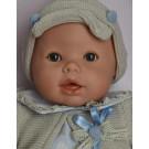 Berjuan Baby Llorón Bábika s látkovým telíčkom zvuková, 50cm modré srdiečka