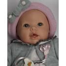 Berjuan Baby Llorón Bábika s látkovým telíčkom zvuková, 50cm ružové srdiečka