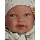 Antonio Juan Realistické bábätko Pipa na deke, 42cm dievčatko biela so sivou potlačou