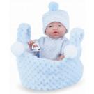 Marina & Pau Realistické bábätko chlapček, 21cm v košíčku