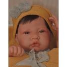 Antonio Juan Realistické bábätko chlapček, 42cm s vlasmi na žltej deke