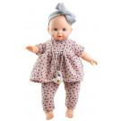 Paola Reina Zvuková bábika bábätko Sonia, 36cm fialové bodky