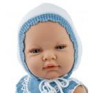 Marina & Pau Realistické bábätko chlapček, 45cm v bielej čiapočke