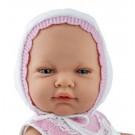 Marina & Pau Realistické bábätko dievčatko, 45cm v bielej čiapočke