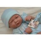Berenguer Realistické bábätko chlapček, 36cm v modrom s dekou