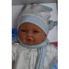 Antonio Juan Zvuková bábika bábätko Bimbo Pelele v modrom, 37cm