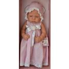 Asivil Realistické bábätko dievčatko Lucía, 42cm dlhé šatočky čipkovaná čiapka