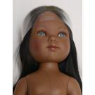 Vestida de Azul Bábika Carlota černoška dlhé vlasy, 28cm bez oblečenia
