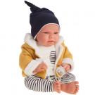 Antonio Juan Látková bábika bábätko Leo v pruhovanom, 40cm