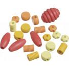 KNORR Drevené korálky rôzne tvary žltá, oranžová, červená, 20ks