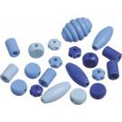 KNORR Drevené korálky rôzne tvary modrá, 20ks