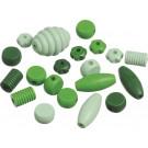 KNORR Drevené korálky rôzne tvary zelená, 20ks