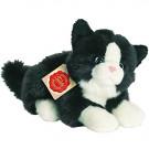 Teddy Hermann Plyšová mačka čierno-biela ležiaca, 20cm