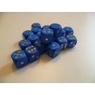 DETOA Drevená kocka hracia lisovaná 16mm modrá, 1ks