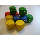 DETOA Drevené kocky hracie lisované 25mm mix farieb, 1ks