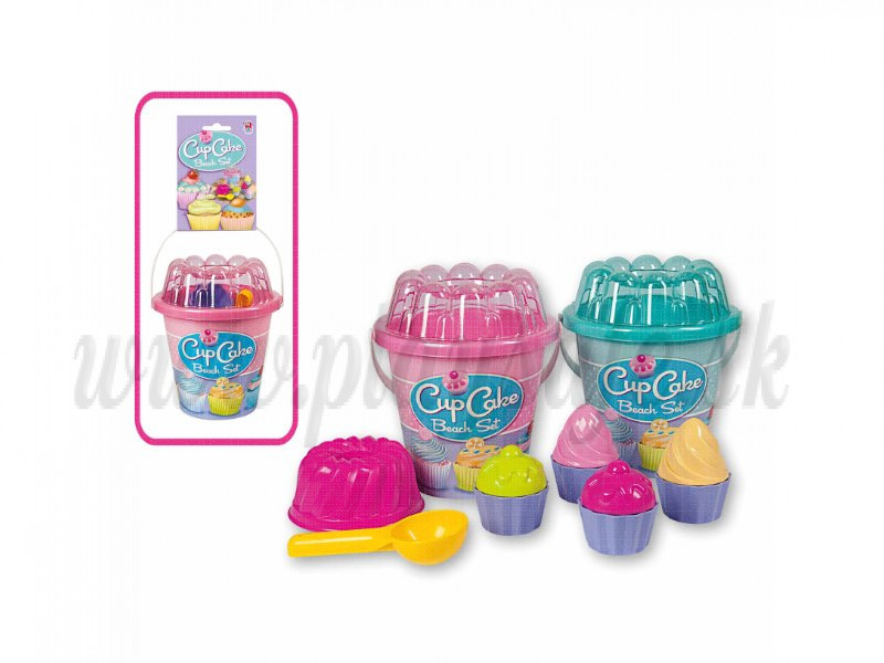 Androni Giocattoli Sand Moulds Cupcakes With Bucket, 12 pieces blue