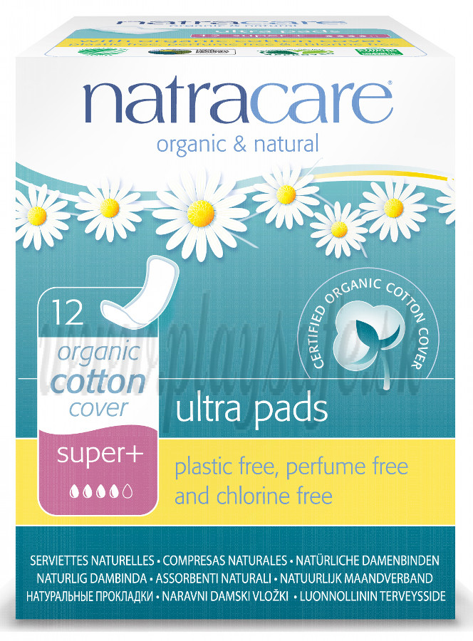 Natracare Organic Cotton Ultra Pads Super Plus, 12 Pieces