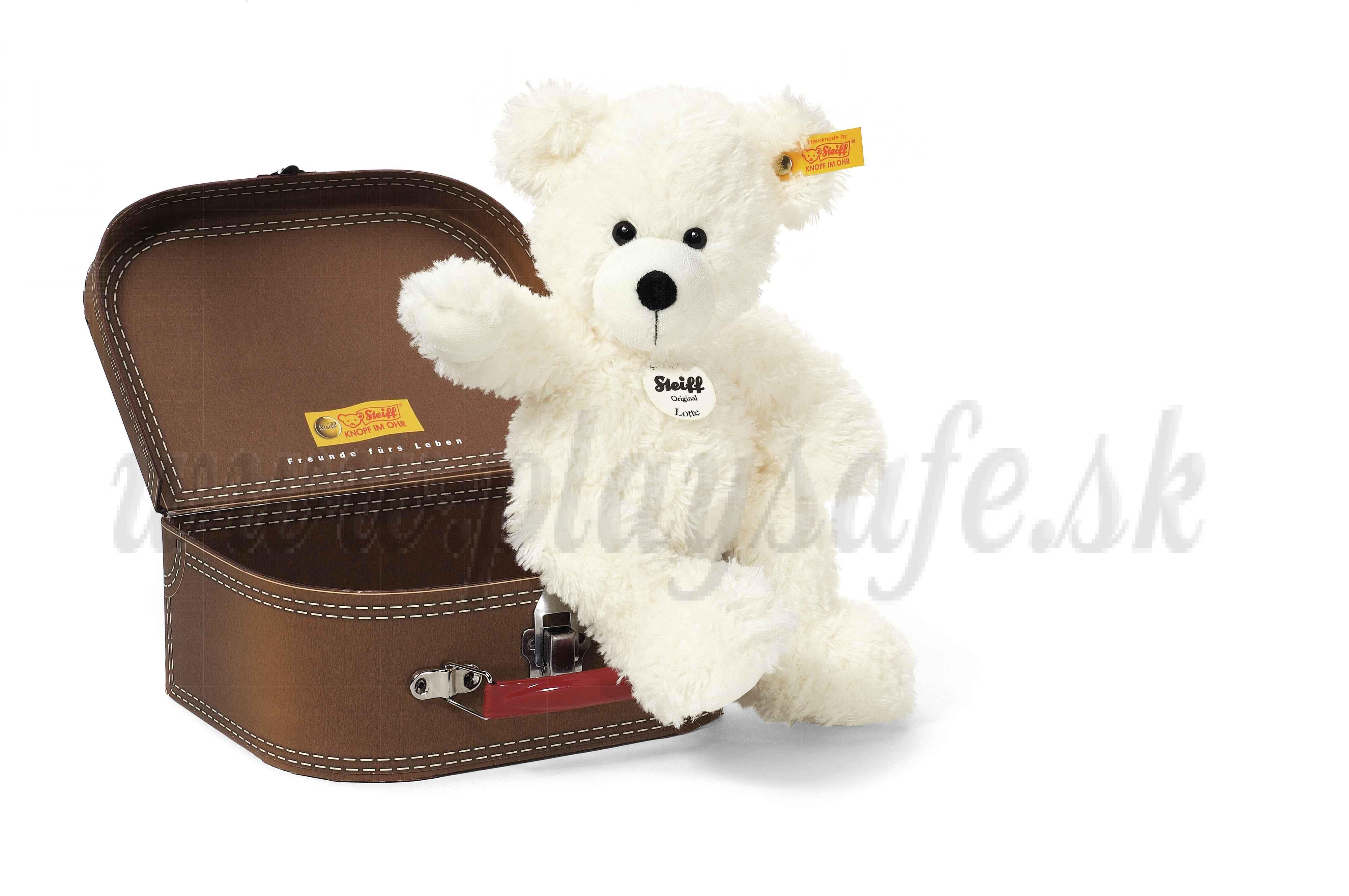 Steiff Teddy Bear Lotte in suitcase, 28cm