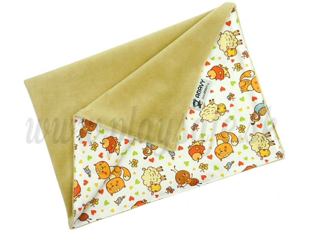 Anavy Changing Mat cotton velour White Coffee / Animals