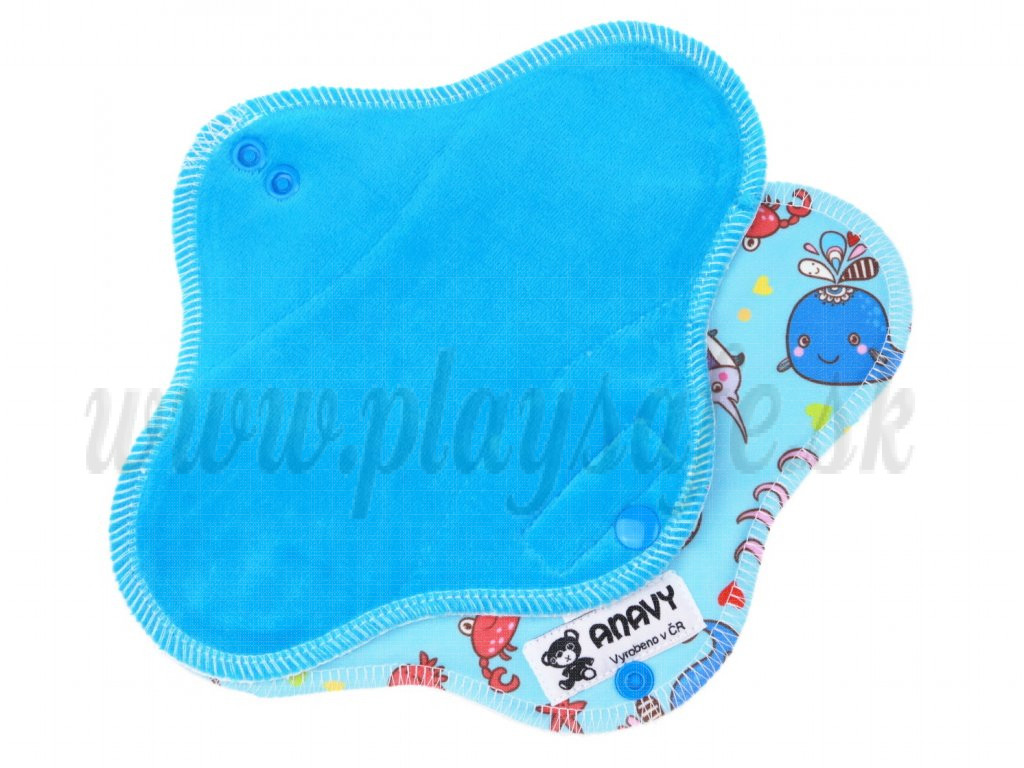 Anavy Menstrual Day Pads PUL cotton velour turquoise / ocean