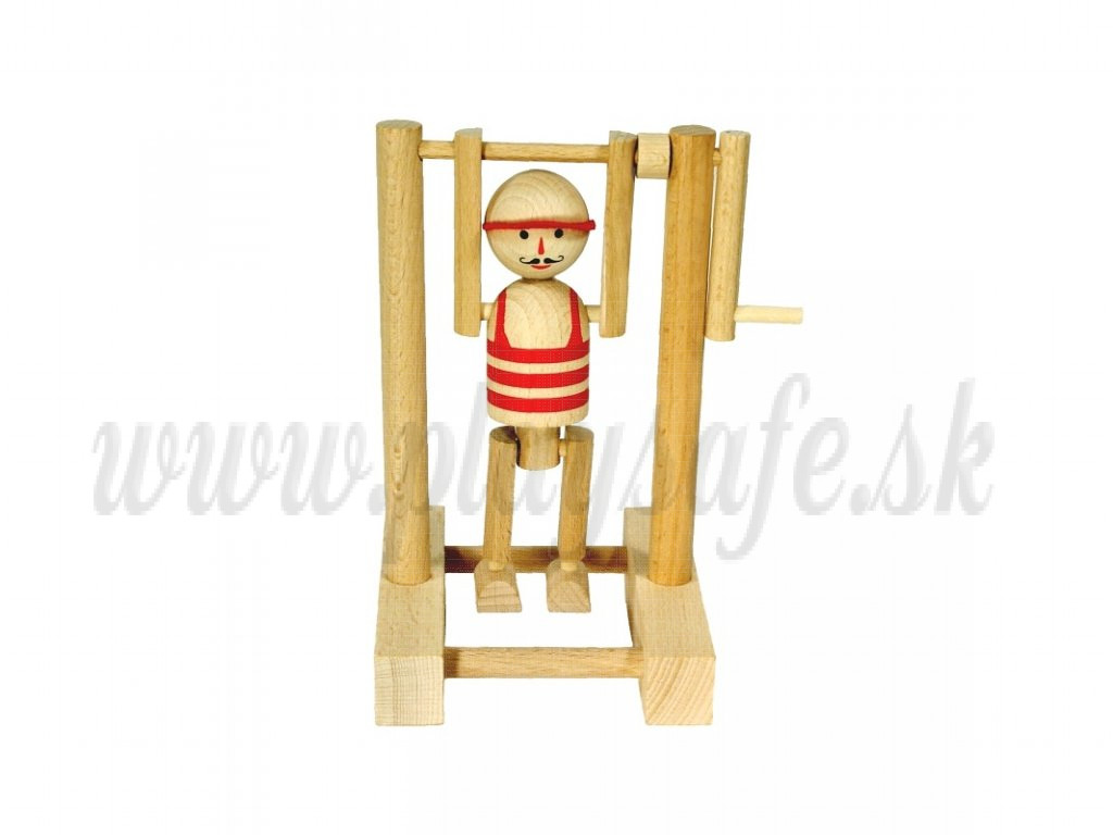 MIK Wooden Toy Boy on Bar red