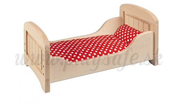 Goki Doll's Wooden Bed, 60cm with selectable bedding