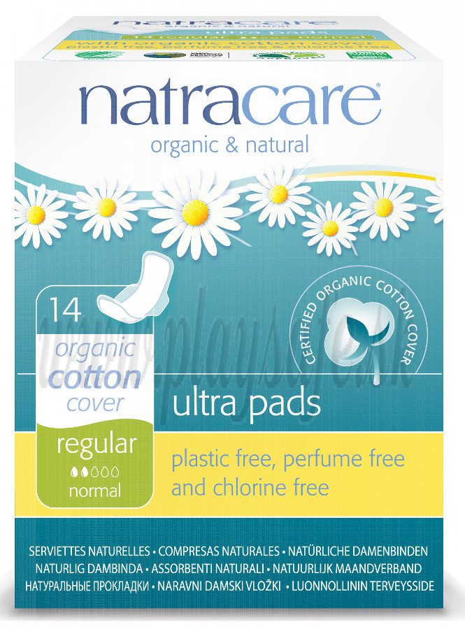 Natracare Organic Cotton Ultra Pads Regular, 14 Pieces