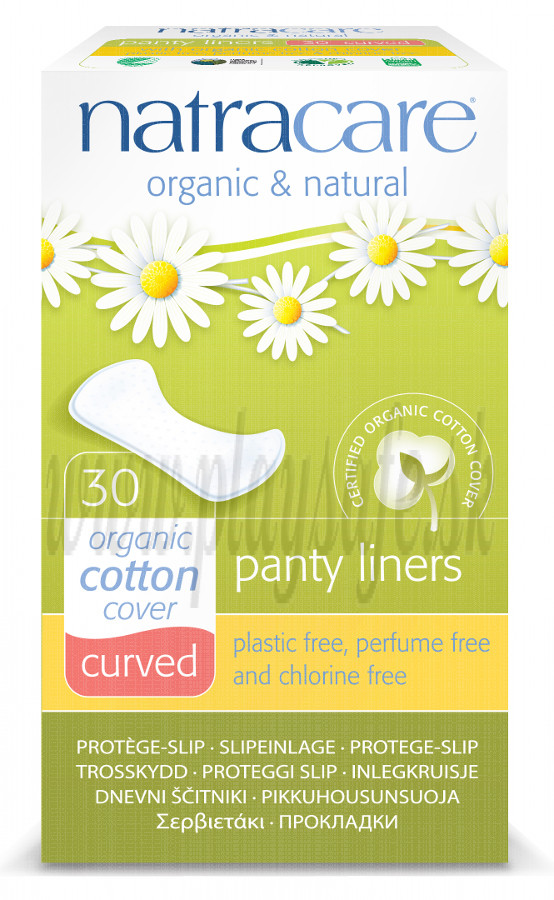 Natracare Organic Cotton Panty Liners Curved, 30 Pads