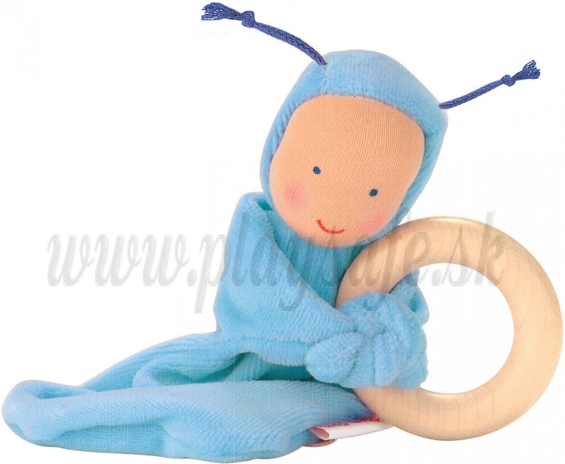 Käthe Kruse Rainbow baby light blue teether, 16cm