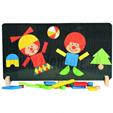DETOA Wooden Magnetic Puzzle Clowns
