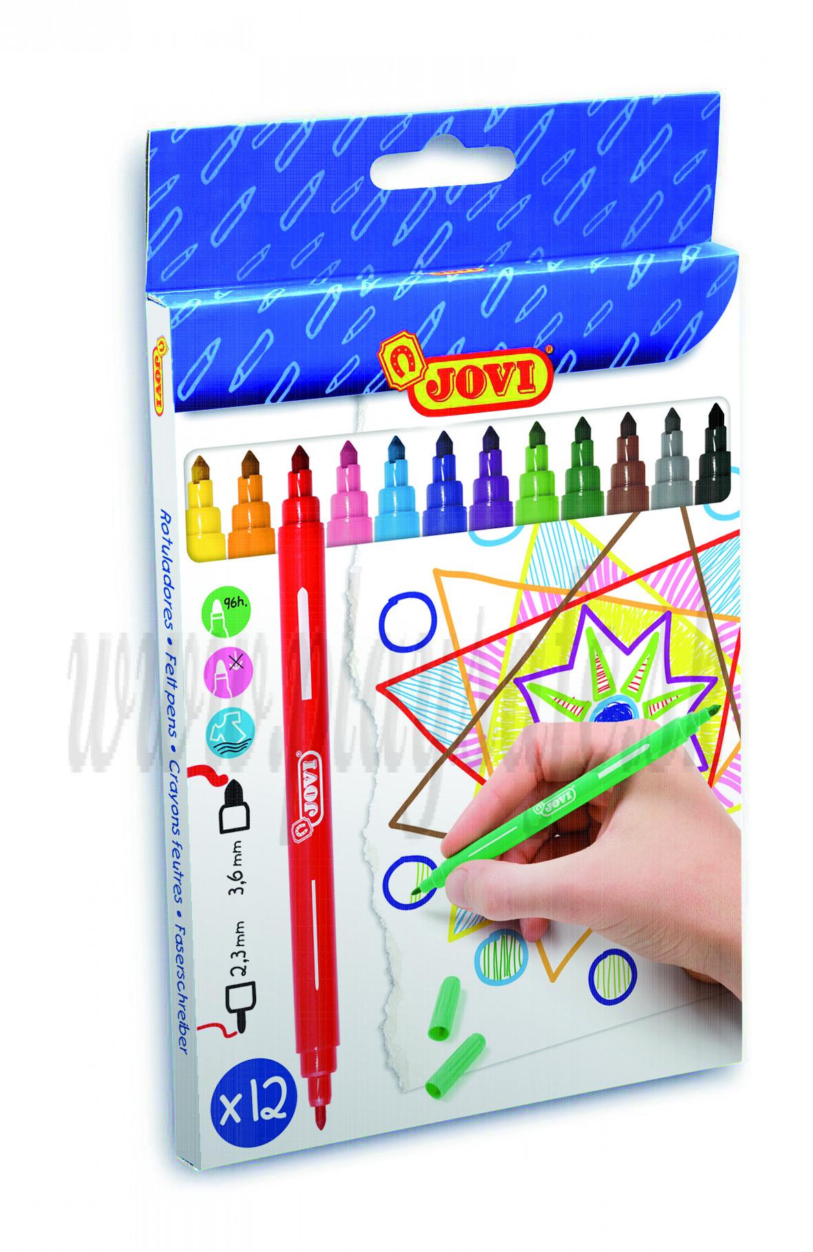 JOVI® Double felt-tip pens case, 12 colours