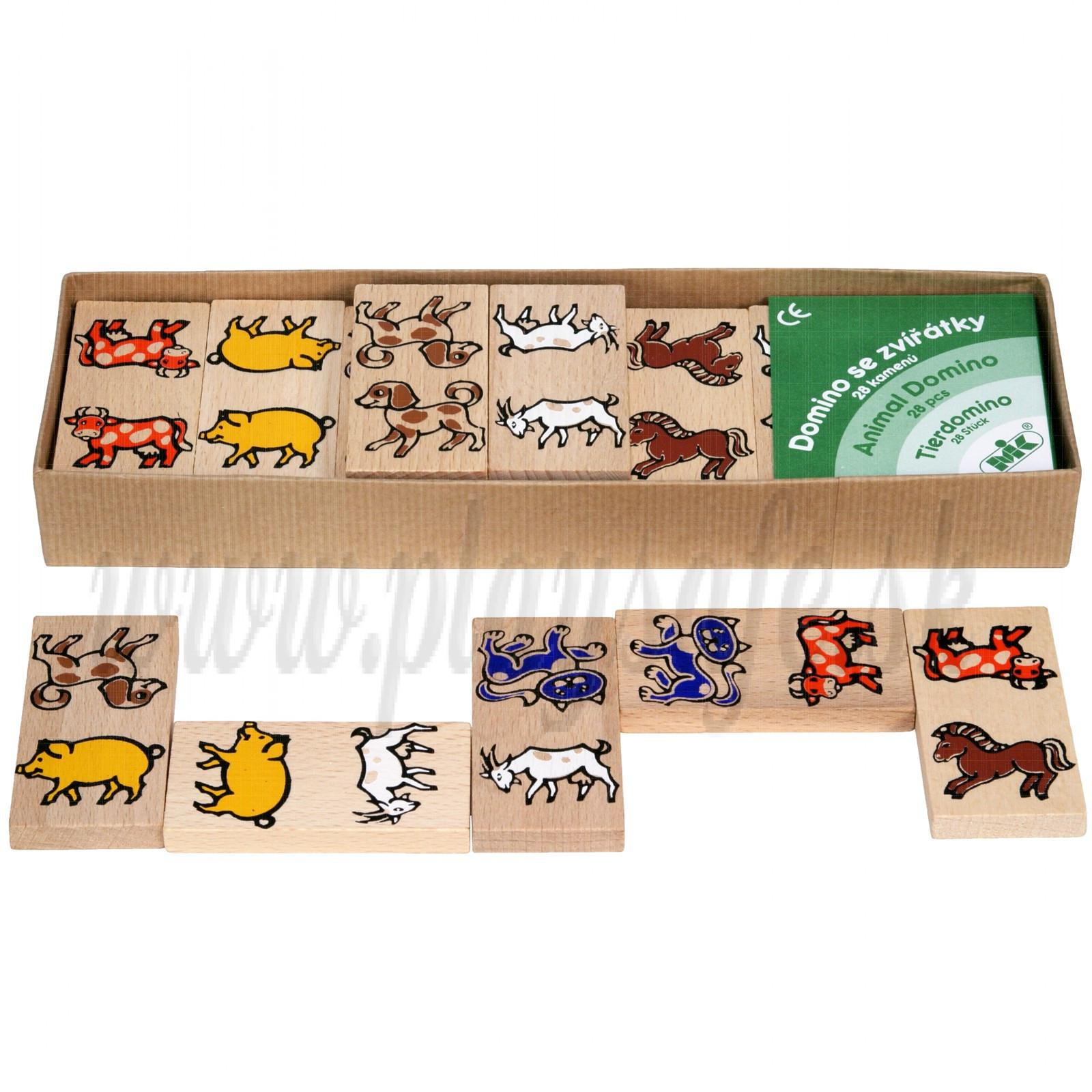 MIK Wooden Domino Farm Animals, 28 pieces