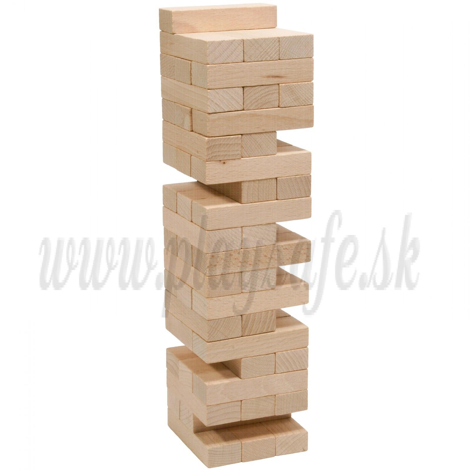 MIK Wooden Tumbling Jenga Tower Mikado Game Natural