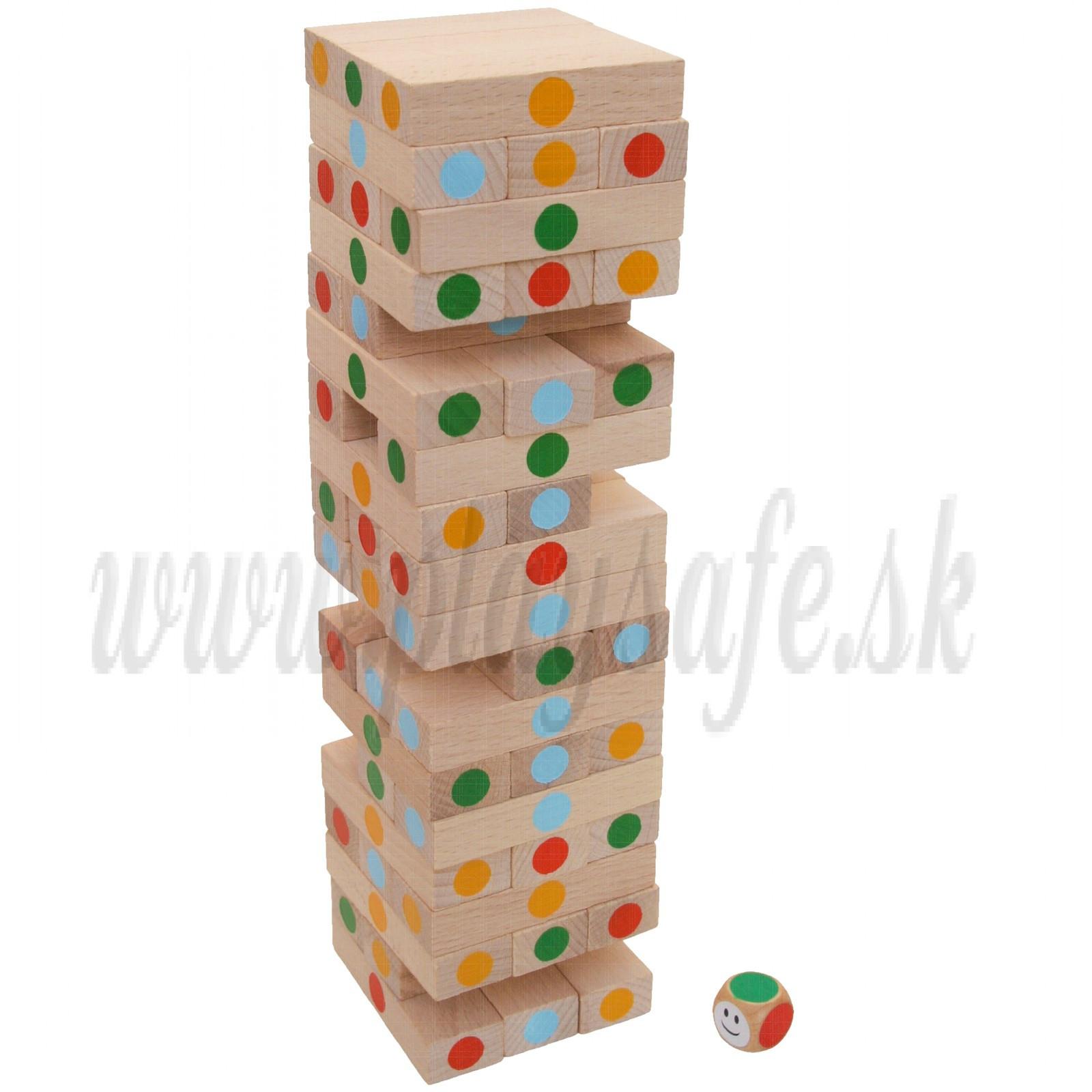 MIK Wooden Tumbling Jenga Tower Mikado Game Colored
