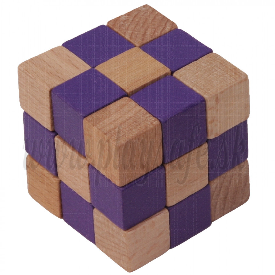 MIK Wooden Brain Teaser Magic Cobra Cube Purple