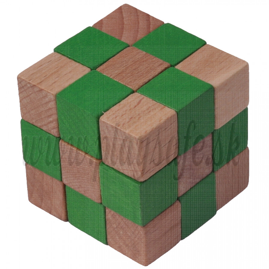 MIK Wooden Brain Teaser Magic Cobra Cube Green