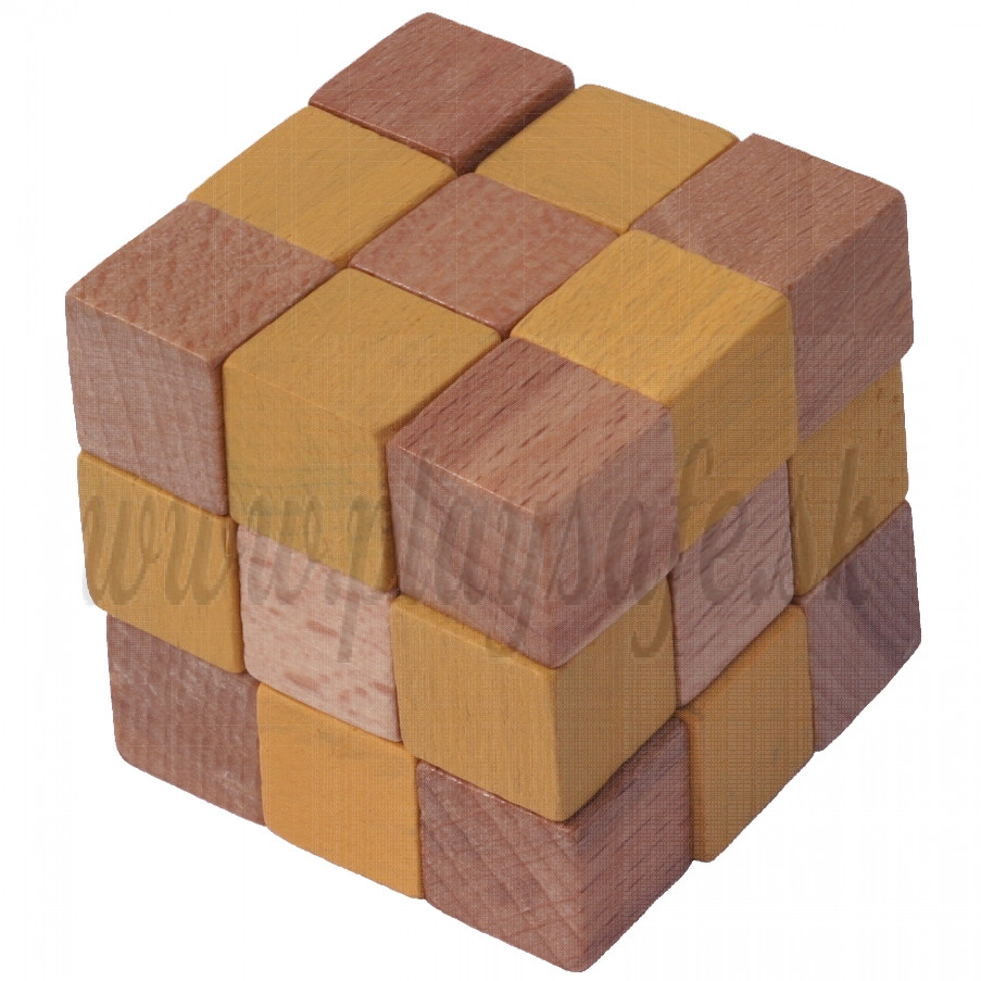 MIK Wooden Brain Teaser Magic Cobra Cube Yellow