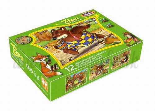 TOPA Wooden Picture Blocks Winnie And His Friends, 12 cubes