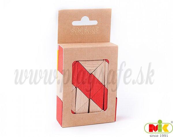 MIK Wooden Brain Teaser Snake Cube Checqued Red
