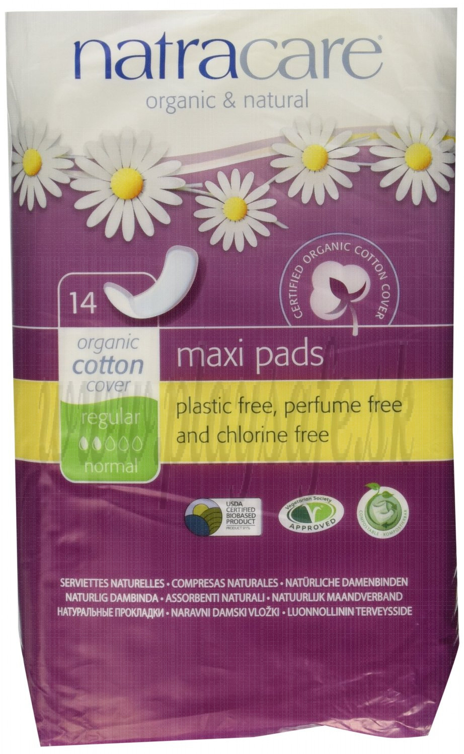 Natracare Organic Cotton Maxi Pads Regular, 14 Pieces