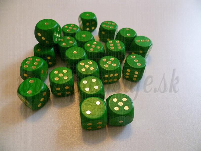 DETOA Wooden dice 16mm green, 1pc
