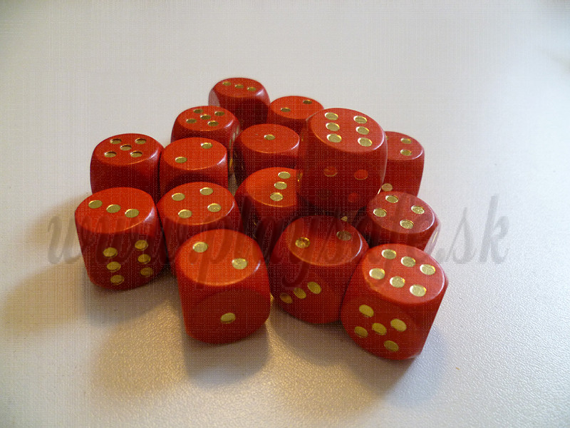 DETOA Wooden dice 16mm red, 1pc
