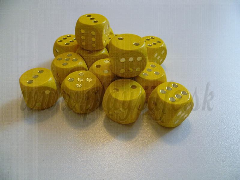 DETOA Wooden dice 16mm yellow, 1pc