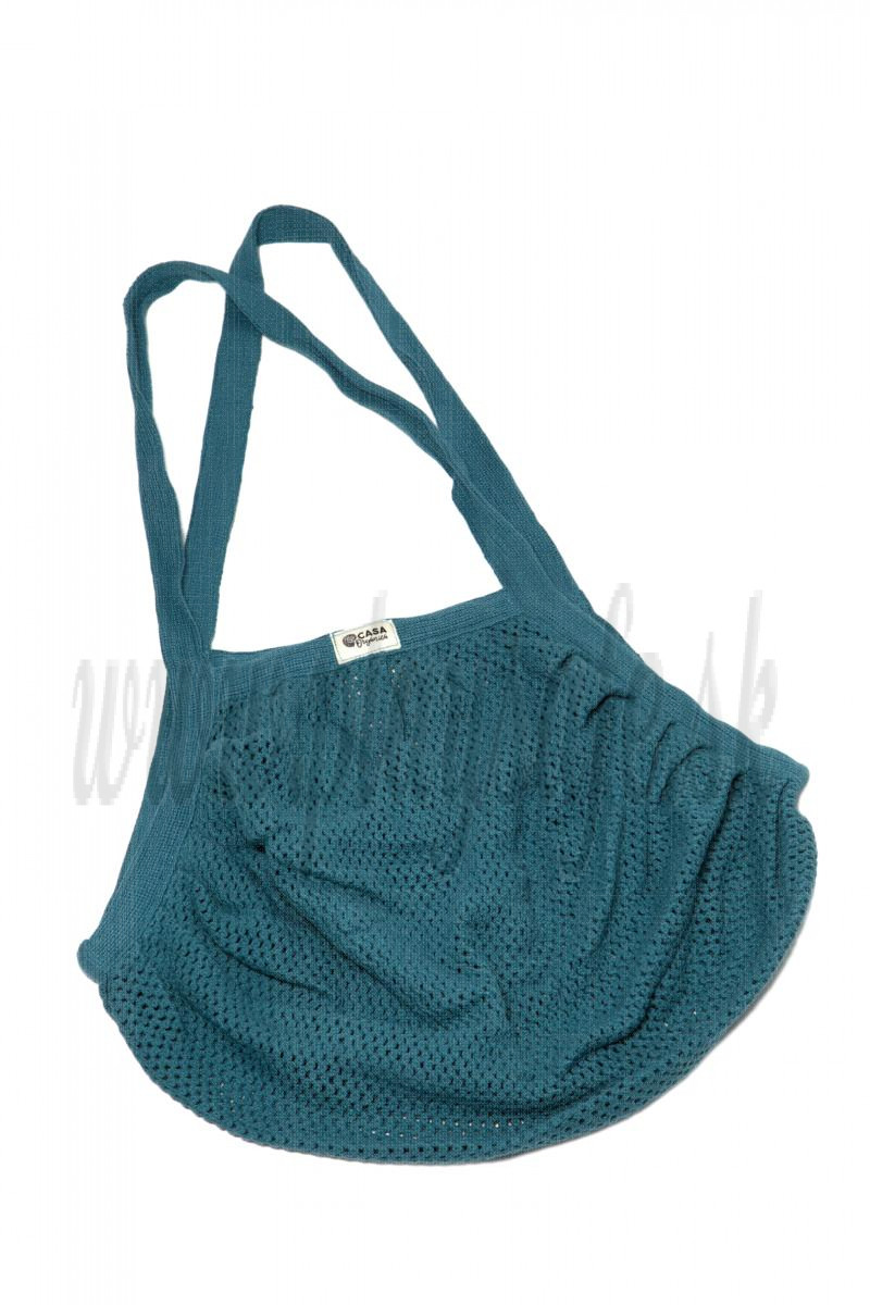 Tierra Verde String Bag from organic cotton thick, cyan