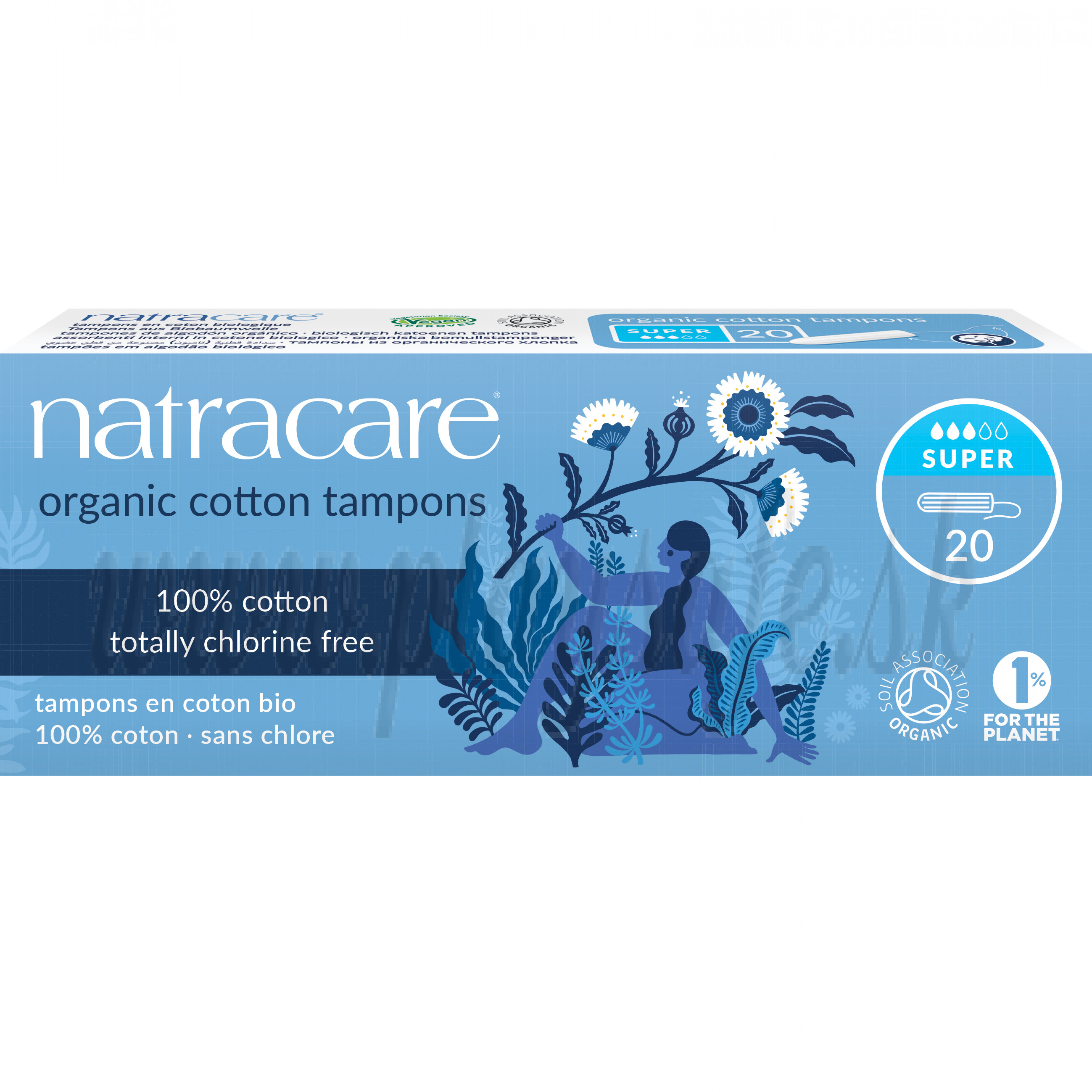 Natracare Organic Cotton Tampons without Applicator Super, 20 Pieces