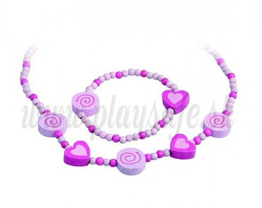 DETOA Wooden Jewellery Set - Hearts and Spirals