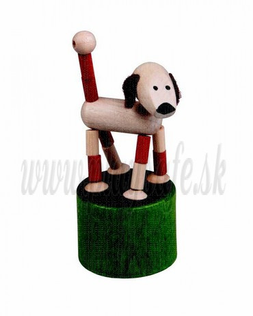 DETOA Wooden Push Up Toy Mini Dog