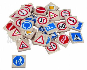 DETOA Wooden Children Memo Traffic Signes, 36 pieces