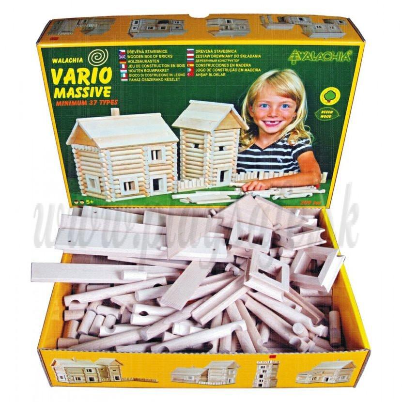 Walachia Wooden Construction Set VARIO Massive, 209 pieces
